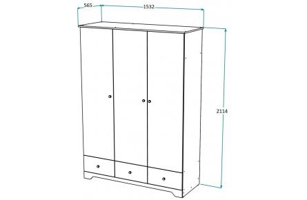 Изображение Шкаф 3-х створчатый распашной ШР-3
