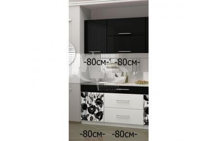 Изображение Кухня МДФ Чёрные Маки - 1