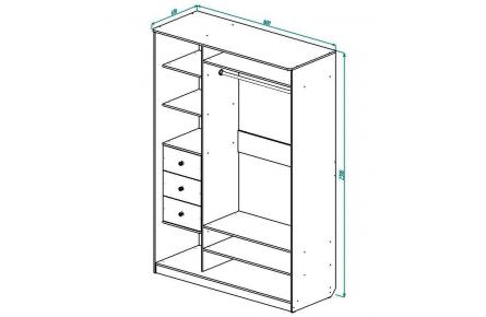 Изображение Шкаф 2 (AL) 1600х600 (Фасады Зеркало) - 3