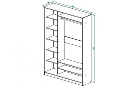 Изображение Шкаф 2 (AL) 1600х450 (Фасады зеркало) - 1