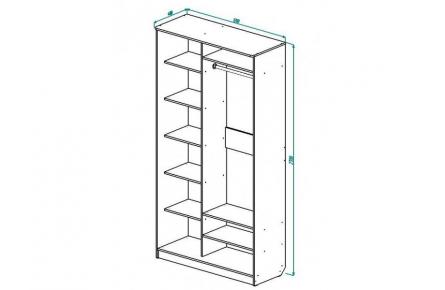 Изображение Шкаф 2 (AL) 1200х450 (Фасады зеркало) - 1