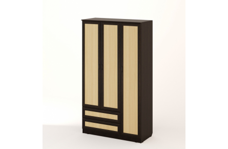 Изображение Шкаф распашной 3-х створчатый с 2 ящиками