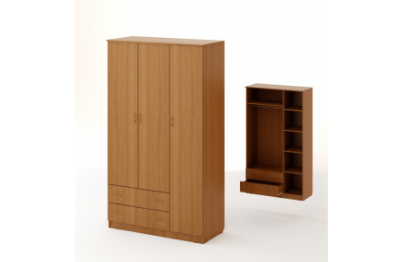 Изображение Шкаф распашной 3-х створчатый с 2 ящиками (В наличии) - 1
