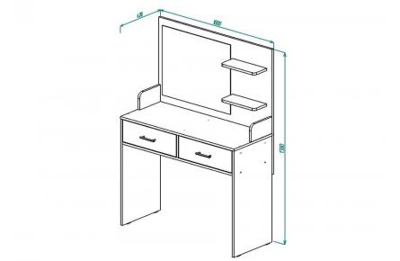 Изображение Стол туалетный СТ 2 (с зеркалом). (В Наличии) - 1